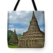Stupas Of Wat Mahathat In 13th Century Sukhothai Historical Park-thailand Tote Bag