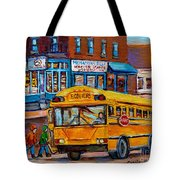 St.viateur Bagel And School Bus Montreal Urban City Scene Tote Bag