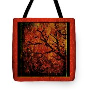 Stylized Cherry Tree With Old Textures And Border Tote Bag