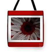 Stylized Daisy With Red Border Tote Bag