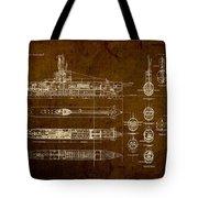 Submarine Blueprint Vintage On Distressed Worn Parchment Tote Bag