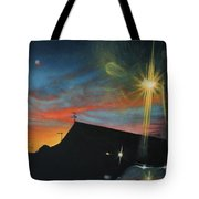 Suburban Sunset Oil On Canvas Tote Bag