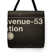 Subway Station Sign Tote Bag