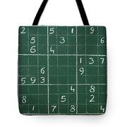 Sudoku On A Chalkboard Tote Bag