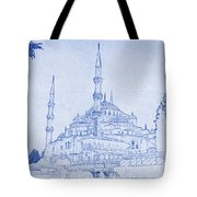 Sultan Ahmed Mosque Istanbul Blueprint Tote Bag