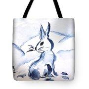 Sumi-e Snow Bunny Tote Bag