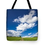 Summer Day Blue Sky Green Grass Tote Bag