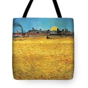 Summer Evening Wheat Field At Sunset Tote Bag