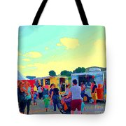 Summer Family Fun Paintings Of Food Truck Art Roadside Eateries Dad Mom And Little Boy Cspandau Tote Bag