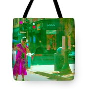 Summer Heatwave Too Hot To Walk Lady Hailing Taxi Cab At Hogg Hardware Rue Sherbrooke Carole Spandau Tote Bag