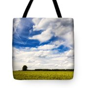 Summer Landscape With Cornfield Blue Sky And Clouds On A Warm Summer Day Tote Bag