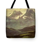 Summer Snow On The Peaks Or Snow Capped Mountains Tote Bag