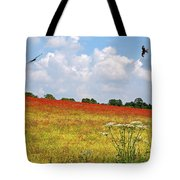 Summer Spectacular - Red Kites Over Poppy Fields Tote Bag