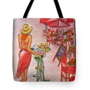 Summer Stroll By A Cafe Tote Bag