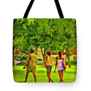 Summertime Walk Through The Beautiful Tree Lined Park Montreal Street Scene Art By Carole Spandau Tote Bag