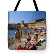 Sun Bathers In Sestri Levante In The Italian Riviera In Liguria Italy Tote Bag