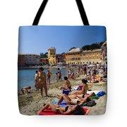 Sun Bathers In Sestri Levante In The Italian Riviera In Liguria Italy Tote Bag by David Smith