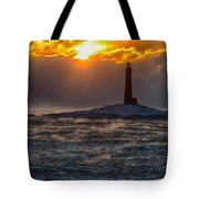 Sun Climbing Over Thacher Island Lighthouse Tote Bag