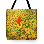 Sun Flowers Field With Two Hearts Forever Connected By Love Tote Bag