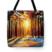 Sun Of January - Palette Knife Landscape Forest Oil Painting On Canvas By Leonid Afremov Tote Bag