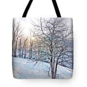 Sun Over A Snowy Day Tote Bag