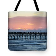 Sun Over Crowed Pier Tote Bag