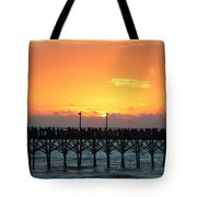 Sun In Clouds Over Pier Tote Bag