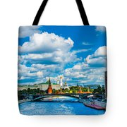 Sun Over The Old Cathedrals Of Moscow Kremlin Tote Bag