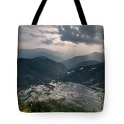 Sun Ray Over Rice Terrace Filed Tote Bag