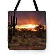 Sun Rays Over The Sonoran Desert  Tote Bag