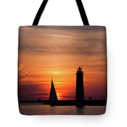 Sun Set At The Muskegon Lighthouse Tote Bag