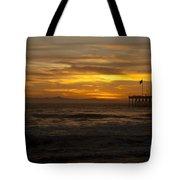 Sun Setting Behind Santa Cruz With Ventura Pier 01-10-2010 Tote Bag