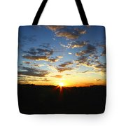 Sun Setting Behind The Mountains Tote Bag