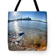 Sun Shining Over Lake Wylie In North Carolina Tote Bag
