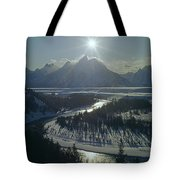 1m9313-sunburst Over Grand Teton, Wy Tote Bag