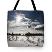 Sunburst With Snow Tote Bag