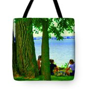 Sunday Picnic On The Lake Maple Trees At The Canal Pte Claire Montreal Waterscene Carole Spandau Tote Bag