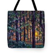 Sundown In Woods Tote Bag