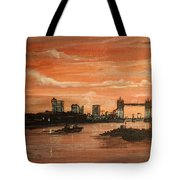 Sundown Over Tower Bridge London Tote Bag