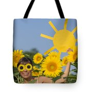 Sunflower And Sun Tote Bag
