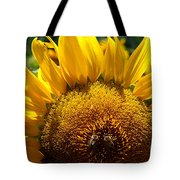Sunflower And Two Bees Tote Bag