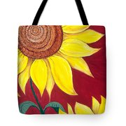 Sunflower On Red Tote Bag