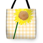 Sunflower On Yellow Plaid Tote Bag