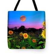 Sunflower Patch And Moon  Tote Bag