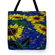 Sunflower Tiled Oil Painting Tote Bag