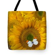 Sunflower With White Butterfly Tote Bag