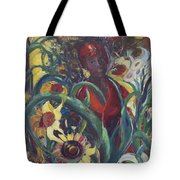 Sunflower Woman #1 Tote Bag by Avonelle Kelsey