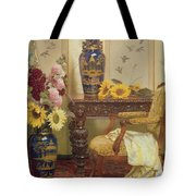Sunflowers And Hollyhocks Tote Bag