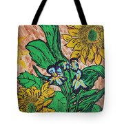 Sunflowers And Irises Tote Bag