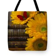 Sunflowers And Old Books Tote Bag by Garry Gay